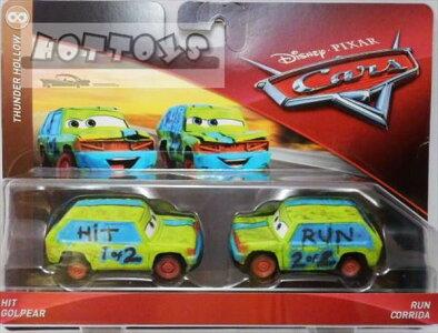 ◎ディズニーカーズミニカー/マテル製HITGOLPEARとRUNCORRIDAの2台セットカーズおもちゃ【予約商品】