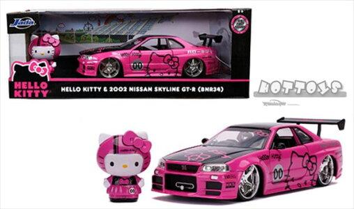 ミニカー1/24JadaTOYS☆ハローキティ2002日産GT-RGTRBNR34色ハローキティレーシングフィギュア付き【予約商品】
