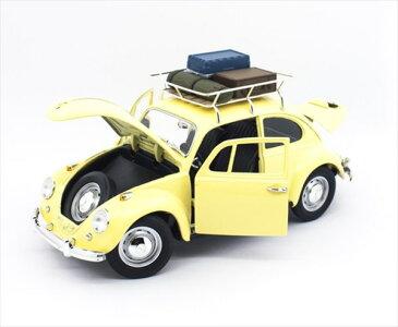 ミニカー1/18LuckyTOYS☆1967VWワーゲンビートル黄色「ルーフキャリア、スーツケース付」【予約商品】ワーゲンバスミニカー