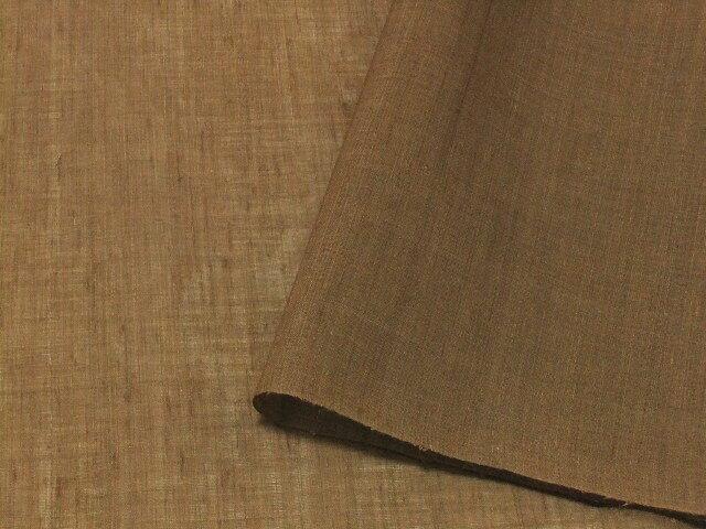 大幅値下げ!【宝彩館】高級 本麻 小千谷麻織 着尺 キングサイズ 無地 茶 未仕立て