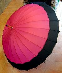 蛇の目風24本骨傘エンジ雨傘番傘風