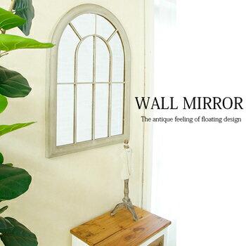 お部屋にアンティークな奥行き♪ 窓型 ウォールミラー 65×89 【送料無料】 壁掛け 鏡 アンティーク おしゃれ 壁掛けミラー 飛散防止 木製 フレーム 軽量 激安 安い ウィンドウミラー 壁掛け鏡