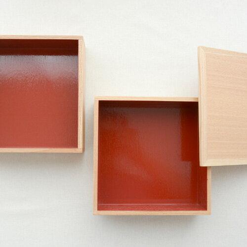 松屋漆器店 白木塗 タモ 二段重箱 内朱