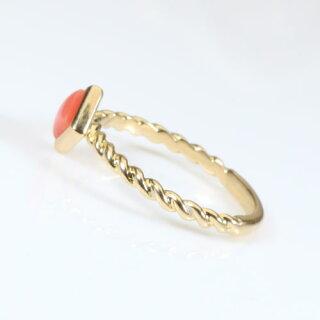 【Jime&Della】K18、ガ-ネ珊瑚スクエアーのリング