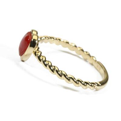 血赤珊瑚ハートリング指輪K18無染色Jime&Della宝石サンゴ天然本さんごコーラル