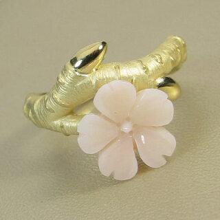 【JUNSUI】K18ミッド珊瑚、桜リング