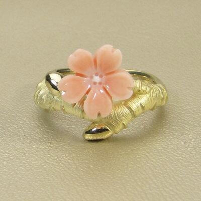 桃珊瑚マガイボケリング指輪桜花K18イエローゴールド無染色JUNSUI宝石サンゴ天然本さんごコーラル