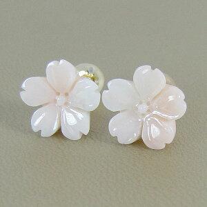 【送料無料】【JUNSUI】K18ミッド珊瑚、桜の花ピアス【smtb-kd】