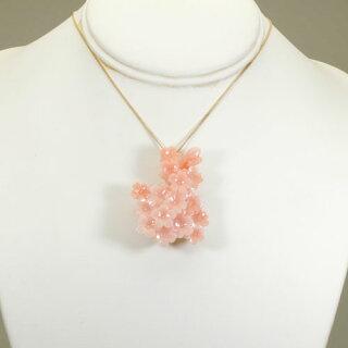 【送料無料】【JUNSUI】K18、赤ボケ珊瑚、桜のペンダント・ブローチ