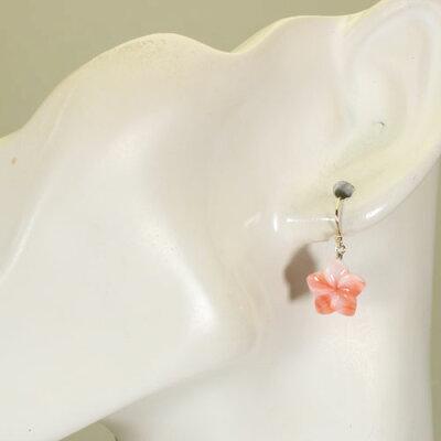 深海珊瑚ピンクピアスプルメリア花K18イエローゴールド無染色JUNSUI宝石サンゴ天然本さんごコーラル