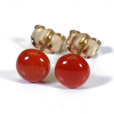 血赤珊瑚ピアス半円ゴールドフィルド無染色SANSUI宝石サンゴ天然本さんごコーラル