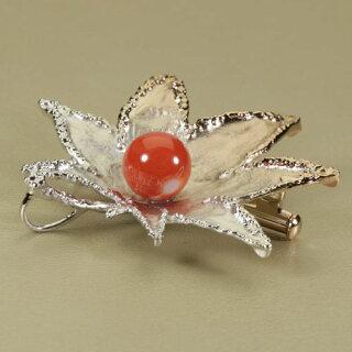 【SANSUI】桃珊瑚紅葉ブローチ