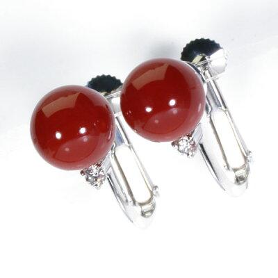 血赤珊瑚イヤリングK18K14ホワイトゴールド丸玉無染色SANSUI宝石サンゴ天然本さんごコーラル