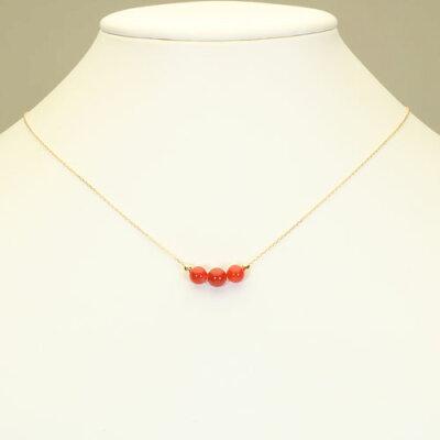 血赤珊瑚ネックレススルーK18イエローゴールド無染色SANSUI宝石サンゴ天然本さんごコーラル