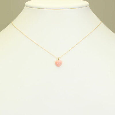 ピンクガーネ珊瑚ペンダントネックレス一粒ハートK18イエローゴールド無染色SANSUI宝石サンゴ天然本さんごコーラル
