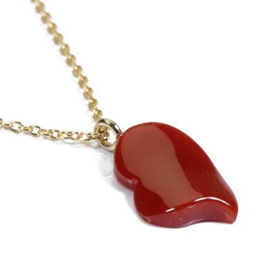 血赤珊瑚ハートネックレスペンダント一粒ゴールドフィルド無染色SANSUI宝石サンゴ天然本さんごコーラル