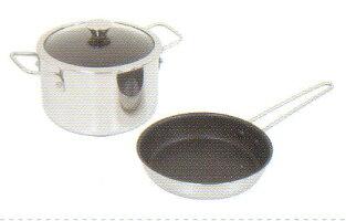 ウルシヤマ金属ラフィーネ-IH16cm片手鍋セット(フライパン16cm・両手鍋16cm・ガラス蓋)