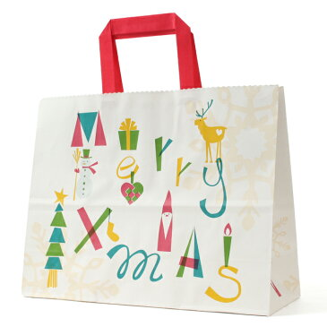 平紐手提 ノルディック クリスマス M 50枚日本製 高品質 紙袋 業務用 ギフト 軽い 安心 梱包 パッケージ