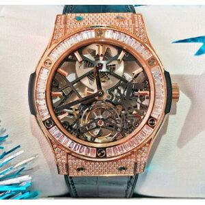 [Новый] HUBLOT Hublot Classic Fusion Скелет Турбийон 18K Розовое золото Ведро Diamond 505.OX.0180.LR.0904 Мужские часы Skeleton Watch [Бесплатная доставка и оплата наложенным платежом]