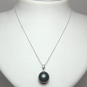 K18WG黒蝶真珠ダイヤ入りペンダント
