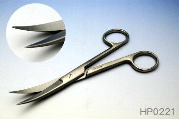 【当日出荷可能】ホスピタルサービス 外科剪刀(げかせんとう)  曲 両尖(りょうせん) HP0221【医療用はさみ・鋼製小物・手術器具・手術用・ペット手術・動物手術・ハサミ】