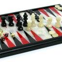送料無料イタリア製チェスコレクションインテリアにも【天然石チェス&バックギャモン】アラバスターチェス&バックギャモン