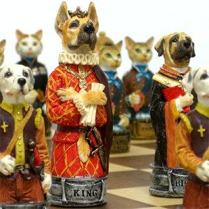 【貴族風に着飾った犬と猫たち】犬猫チェス駒 ウェア