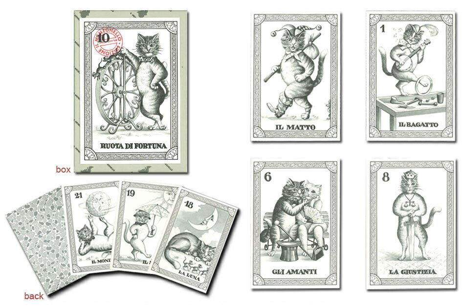 【イタリアで手作りされたカード】猫のタロットスタンダードサイズ