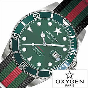 オキシゲン腕時計[OXYGEN時計](OXYGEN腕時計オキシゲン時計)ダイバーカンポ(DiverCampo40)メンズ腕時計/グリーンホワイト/CAM-40-BLGNRE[送料無料アナログおしゃれシルバーブラックレッドダイバーデザインモデル3針]