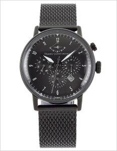 トランスコンチネンツ腕時計[TRANSCONTINENTS時計](TRANSCONTINENTS腕時計トランスコンチネンツ時計)メンズ腕時計/ブラック/TAQ-8801-05[送料無料アナログ限定50本おしゃれMIYOTA9100メタルバンドホワイト銀黒白7針]