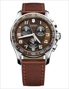 ビクトリノックススイスアーミー腕時計(VICTORINOXSWISSARMY時計ビクトリノックススイスアーミー時計)クロノクラシック/メンズ/腕時計/チャコールグレー/VIC-241498[アナログ男性用メンズウォッチ革バンドレザーベルトブラウン茶/銀6針][送料無料]