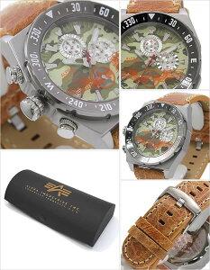 [送料無料]アルファインダストリーズ腕時計[ALPHAINDUSTRIES時計](ALPHAINDUSTRIES腕時計アルファインダストリーズ時計)メンズ腕時計/グリーン/AL-502M-02[クロノグラフ/革ベルト/ミリタリー/ミリタリーウォッチ/防水/シルバー/ブラウン/迷彩]