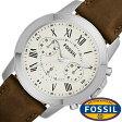フォッシル 腕時計 メンズ レディース 男女兼用 [ FOSSIL ] フォッシル 時計 [ fossil 腕時計 メンズ レディース ] グラント GRANT ホワイト FS4839 [ 革 ベルト クロノ グラフ ブラウン シルバー アイボリー クリーム ファッション 人気 ]
