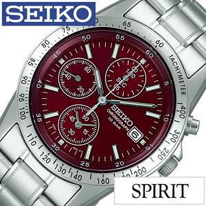 [送料無料]セイコー腕時計[SEIKO時計](SEIKO腕時計セイコー時計)スピリット(SPIRIT)メンズ腕時計/レッド/SBTQ045[メタルベルト/正規品/クロノグラフ/流通限定モデル/防水/シルバー/シンプル]
