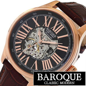 [送料無料]バロック腕時計[BAROQUE時計](BAROQUE腕時計バロック時計)ディヴィーノ(DIVINO)メンズ/腕時計/ブラック/BA1006RG-02BR[正規品/人気/新作/ブランド/防水/革ベルト/レザ-/機械式/自動巻き/ブラウン]