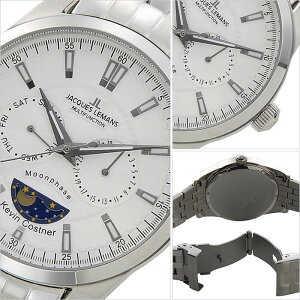 [送料無料]ジャックルマン腕時計[JACQUESLEMANS時計](JACQUESLEMANS腕時計ジャックルマン時計)ケビンコスナーコレクションリバプール腕時計/ホワイト/JAL11-1804E-1[正規品/人気/新作/ブランド/防水/ステンレスベルト/シルバー/シンプル]