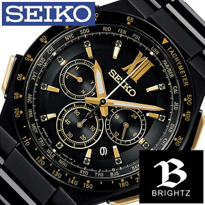 [9月9日販売開始]セイコー腕時計[SEIKO時計](SEIKO腕時計セイコー時計)ブライツ(BRIGHTZ)メンズ/腕時計/ブラック/SAGA212[メタルベルト/正規品/ソーラー電波修正/クロノグラフ/防水/限定800本/ゴールド/クリスタル/ストーン][送料無料]