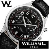 ウィリアムエル腕時計メンズレディース[WilliamL1985時計]クロノグラフ(Chronographs)ブラックWLAC01NRBN[正規品ブランド防水スイスシンプル革レザーベルトプレゼント]