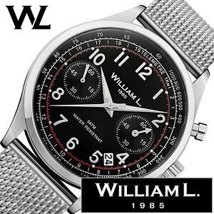 ウィリアムエル腕時計メンズレディース[WilliamL1985時計]クロノグラフ(Chronographs)ブラックWLAC01NRMM[正規品ブランド防水スイスシンプルメッシュメタルベルトプレゼントシルバー]