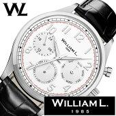 ウィリアムエル腕時計メンズレディース[WilliamL1985時計]カレンダー(Calendars)ホワイトWLAC03BOCN[正規品ブランド防水スイスシンプル革レザーベルトプレゼントシルバーブラック]