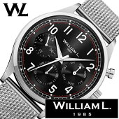 ウィリアムエル腕時計メンズレディース[WilliamL1985時計]カレンダー(Calendars)ブラックWLAC03NRMM[正規品ブランド防水スイスシンプルメッシュメタルベルトプレゼントシルバー]