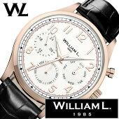 ウィリアムエル腕時計メンズレディース[WilliamL1985時計]カレンダー(Calendars)ホワイトWLOR03BCORCN[正規品ブランド防水スイスシンプル革レザーベルトプレゼントローズゴールドブラック]