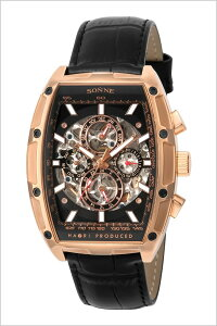 ゾンネ腕時計[SONNE時計]ハオリ(HAORIPRODUCED)メンズブラックH018PG-BK[正規品人気防水機械式自動巻きスケルトン革レザーベルトピンクゴールドトノー]