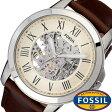 フォッシル 腕時計 [ FOSSIL ] 時計 グラント ( GRANT ) メンズ腕時計 アイボリー ME3099 [ 人気 流行 ブランド 防水 機械式 自動巻き スケルトン 革 レザー ブラウン ]