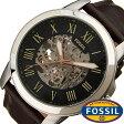 フォッシル 腕時計 [ FOSSIL ] 時計 グラント ( GRANT ) メンズ腕時計 ブラック ME3100 [ 人気 流行 ブランド 防水 機械式 自動巻き スケルトン 革 レザー ブラウン シルバー ]