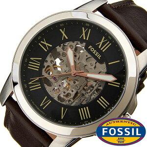 フォッシル腕時計[FOSSIL]時計グラント(GRANT)メンズ腕時計ブラックME3100[人気流行ブランド防水機械式自動巻きスケルトン革レザーブラウンシルバー]
