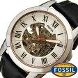 フォッシル 腕時計 [ FOSSIL ] 時計 グラント ( GRANT ) メンズ腕時計 シルバー ME3101 [ 人気 流行 ブランド 防水 機械式 自動巻き スケルトン 革 レザー ブラック ]