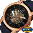 フォッシル 腕時計 [ FOSSIL ] 時計 グラント ( GRANT ) メンズ腕時計 ブルー ME3102 [ 人気 流行 ブランド 防水 機械式 自動巻き スケルトン 革 レザー ブルー ローズゴールド ピンクゴールド ]