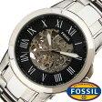 フォッシル 腕時計 [ FOSSIL ] 時計 グラント ( GRANT ) メンズ腕時計 ブラック ME3103 [ 人気 流行 ブランド 防水 機械式 自動巻き スケルトン メタル シルバー ]