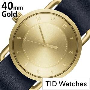 ティッドウォッチ腕時計[TIDWatches時計]メンズゴールドTID01-GD40-NV[人気ブランド革レザーベルト北欧シンプルネイビー]